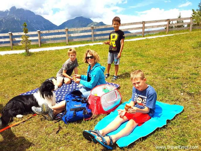 Picnic at the Mieders Alpine coaster in Austria.