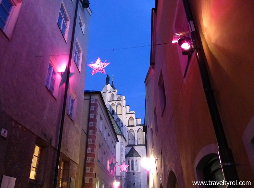 Cobbled lane during Christmas in Hall in Tirol.