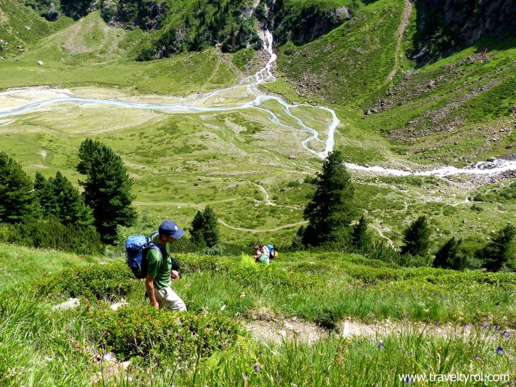 Hiking trail next to Sulzenau Waterfall on Wilde Wasser Weg in the Stubai Valley in Austria.