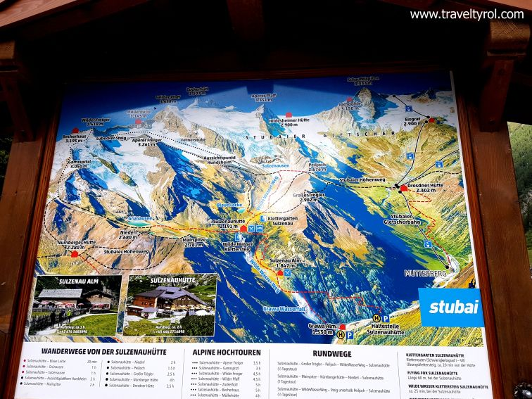 Map of the Wilde Wasser Weg in the Stubai Alps in Austria.