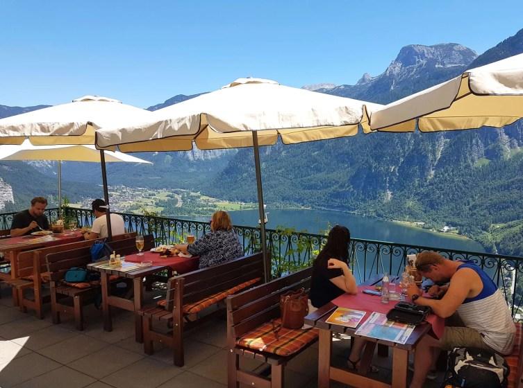 Luch view from Rudolfsturm Restaurant in Hallstatt.