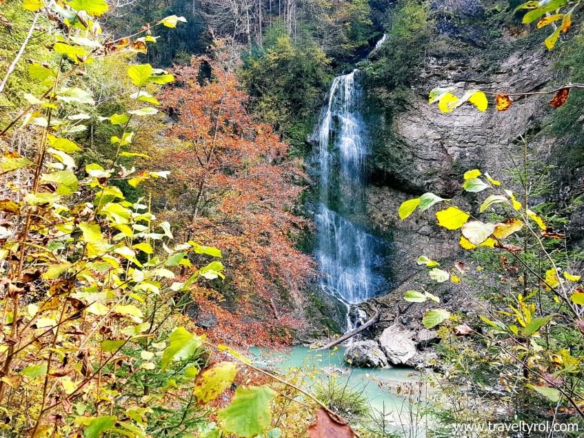 Waterfall on the Tiefenbachklamm hike in Austria.