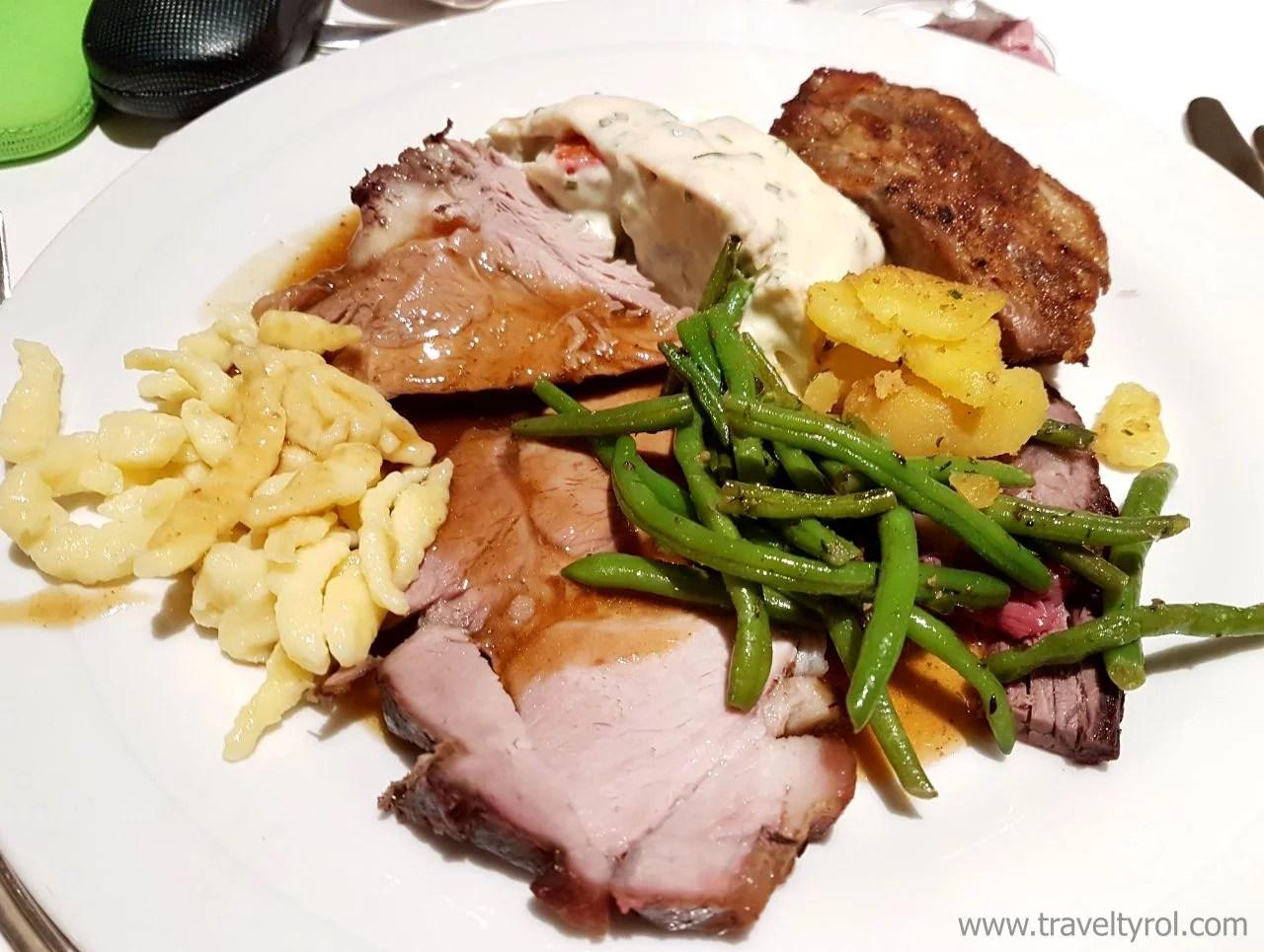 Dinner food plate at Hotel Serles