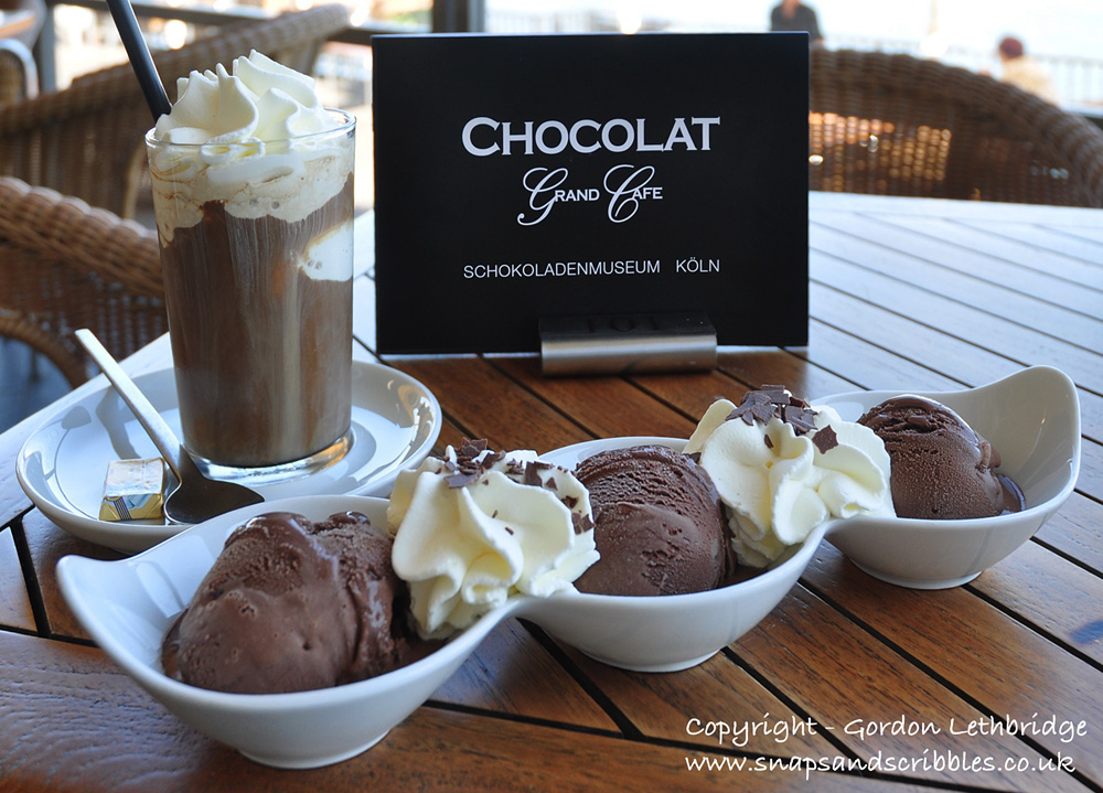 Iced mocha with ice-cream. Each scoop uses chocolate from a single source cocoa bean