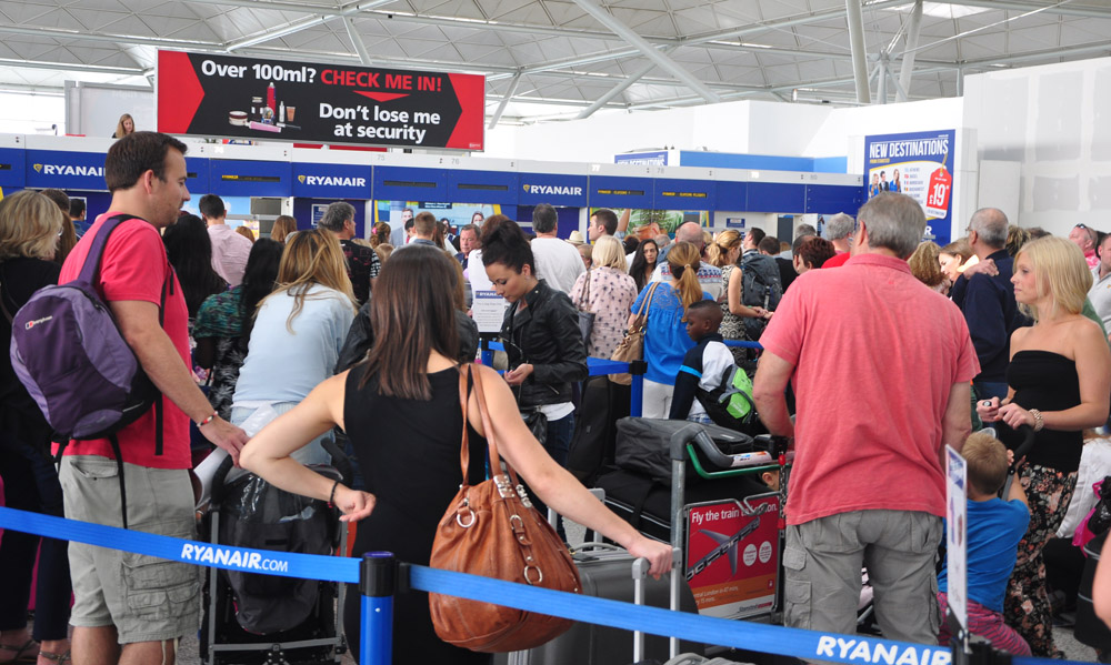 The overcrowded Ryanair bag drop lanes at Stansted airport