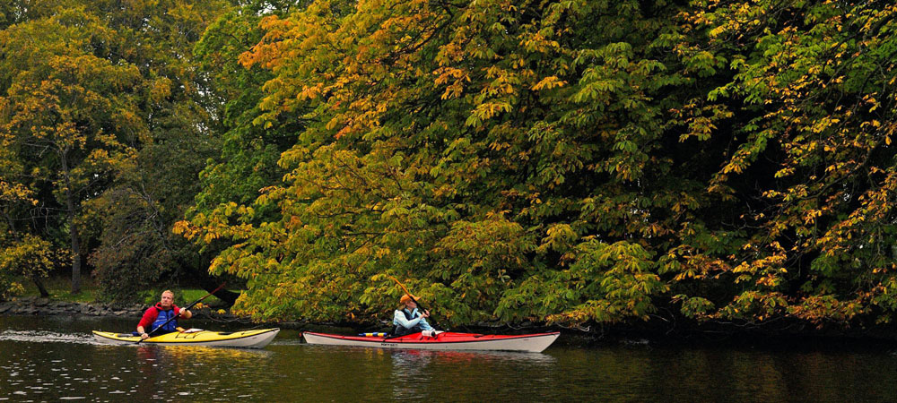Kayakers enjoying the Swedish lakes just as the leaves begin to change colour