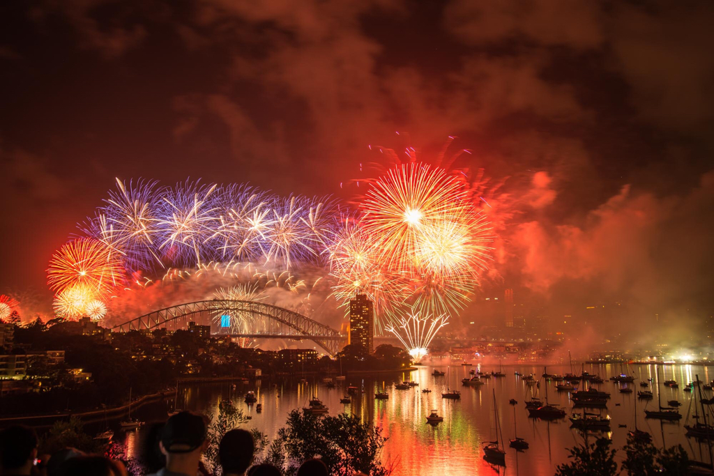 Sydney Harbour with pyrotechnics
