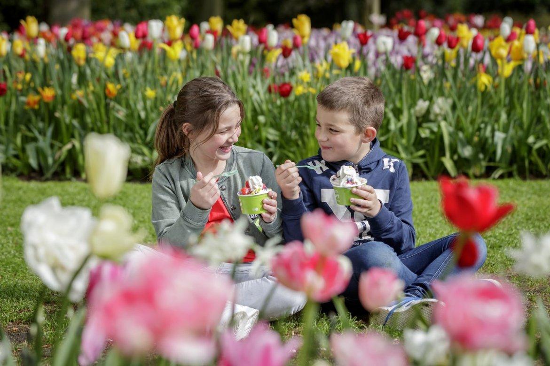 Children among the tulips at Keukenhof