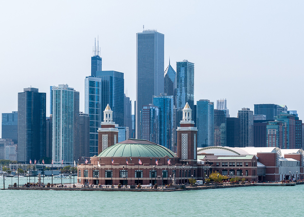 Navy Pier and skyscrapers in Chicago