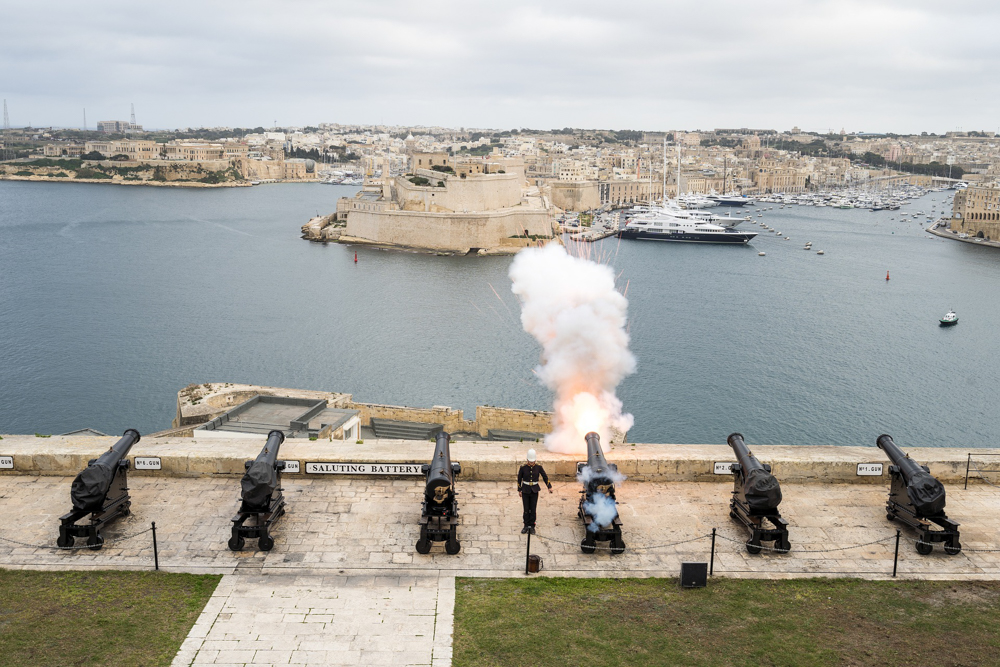 Gun salute overlooking the Grand Harbour of Valletta, Malta - Where in the World 392