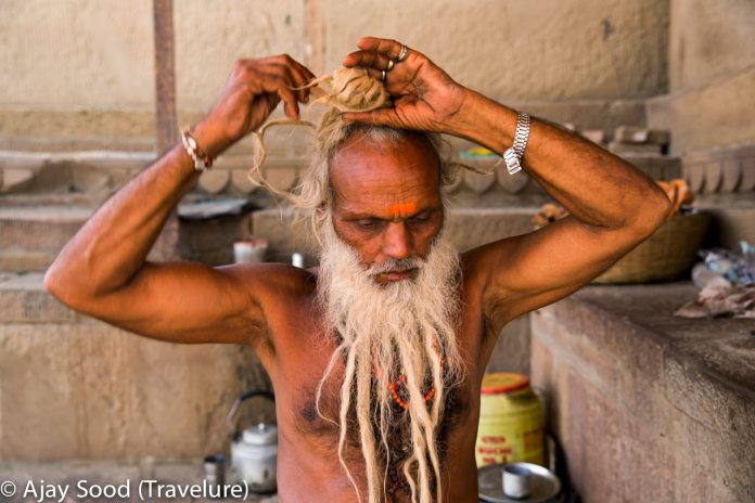 This Sadhu runs a tea-stall on the ghats stretch