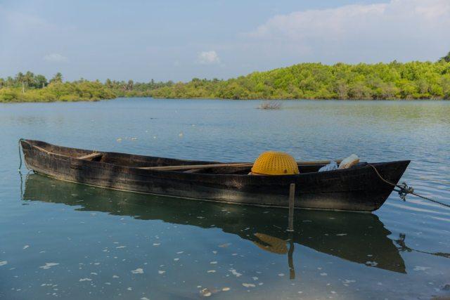 A fishing boat in Mulki backwaters