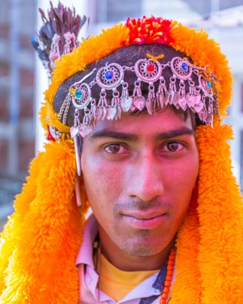 A male Naati dancer in traditional Himachali attire at Kullu Dussehra - Gods' Own Get-Together