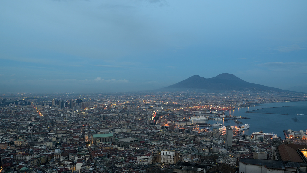 Wallpaper Extreme Car Skyline Of Naples With Mount Vesuvius Campania Italy