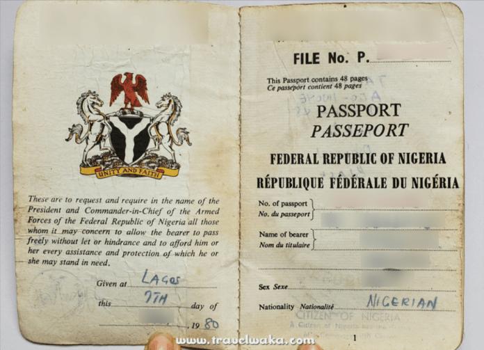 Nigerian old passport