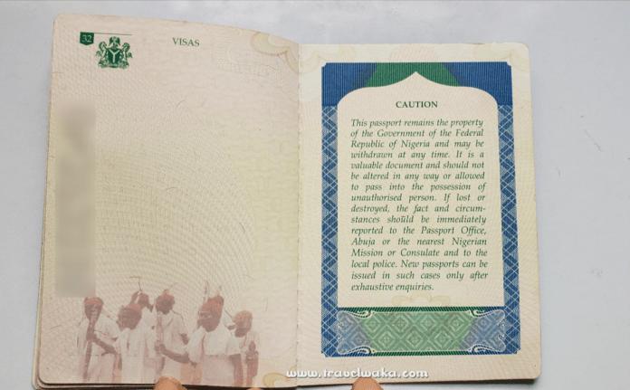 back page of international passport