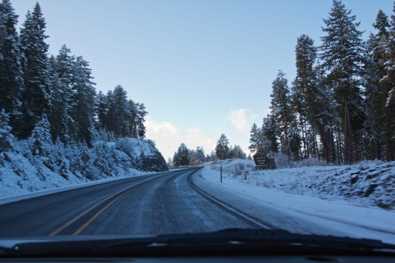 Snow on Hwy 95 Oregon - Nevada - Mahleur National Forest