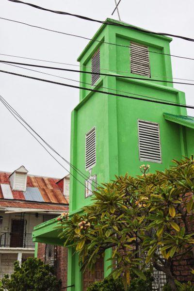 Green church tower