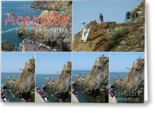 La Quebrada Cliff Divers Collage Postcard