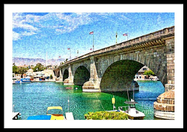 London Bridge digital watercolor-framed