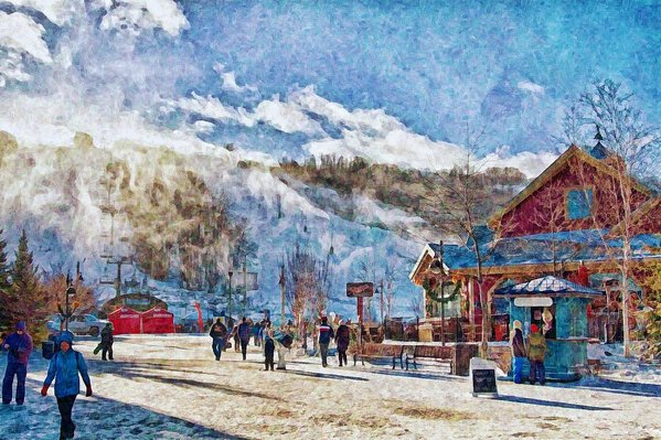 Blue Mountain ski resort, Ontario, digital painting
