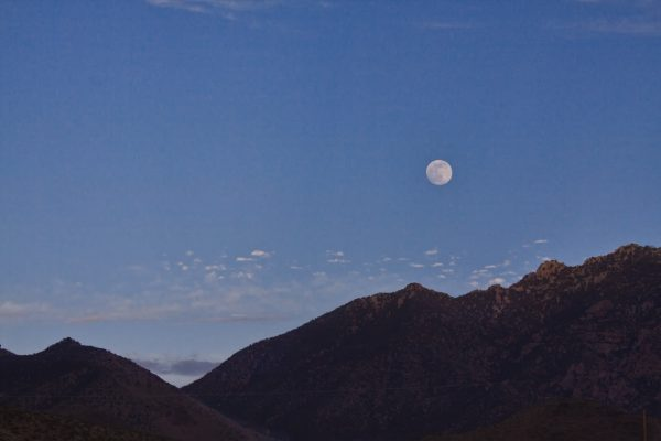 Full solstice moon over Cerbat Mountains in Mohave Desert, Arizona