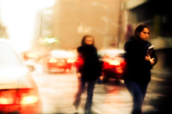 Motion blur mood photo of a rainy day in the city