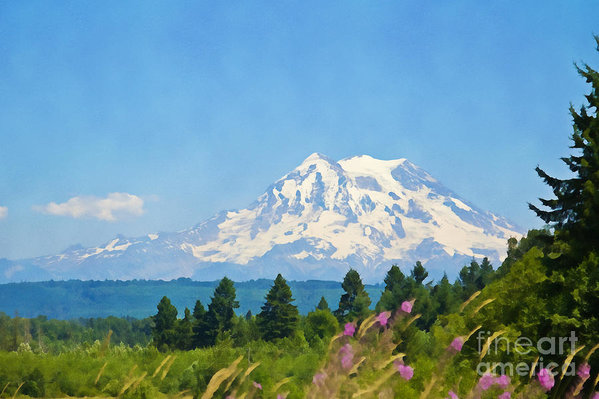 Mount Rainier covered by snow in the summertime digital water color
