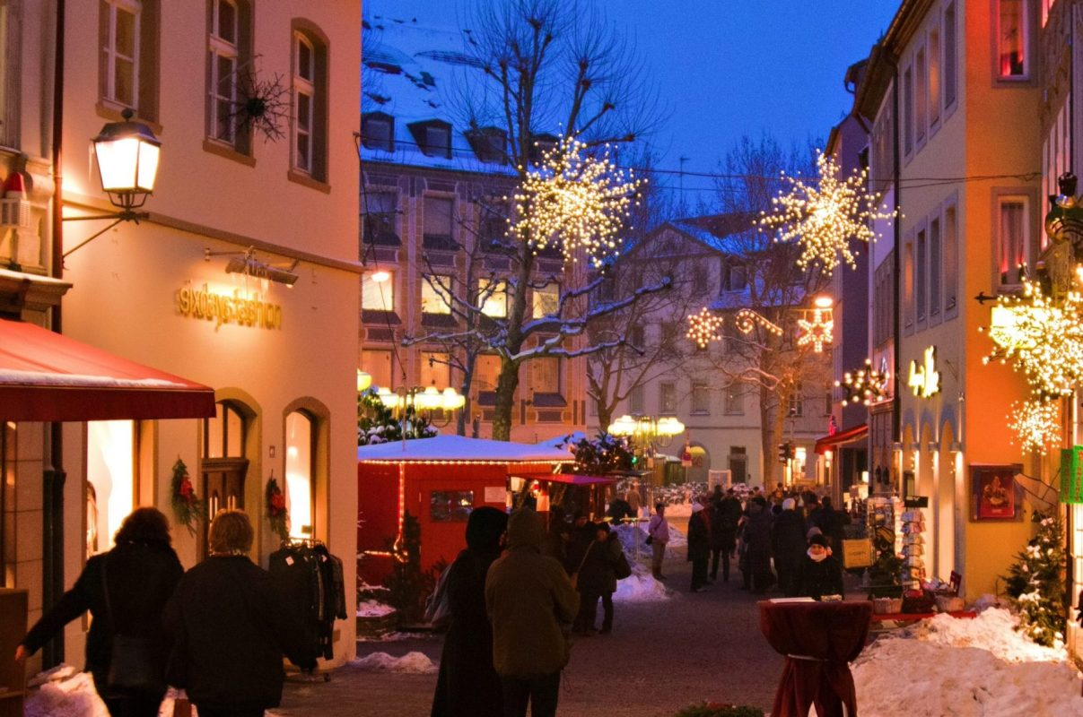 Winter holidays in Germany -Christmas lights in Bamberg, Germany