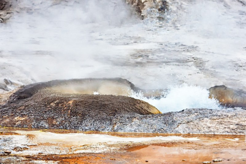 Fuming geyser basin at Yellowstone National Park