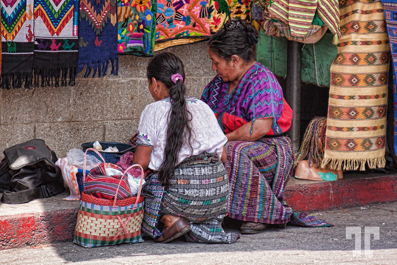 Indigenous craft vendors in Panajachel, Guatemala at lunch time