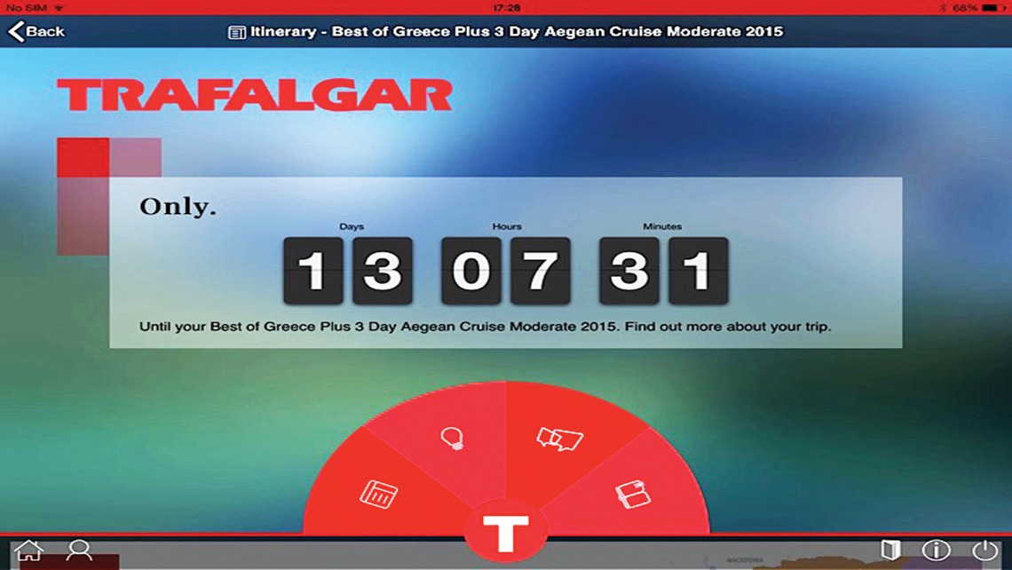 A countdown feature on the myTrafalgar app shows travelers how many days, hours and minutes are left until their trip.