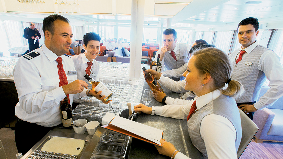 Viking staffers run through the bar selections onboard while preparing for the 2016 river cruise season. Viking has six campuses that it uses to train its crew. Richard Marnell, Viking's senior vice president of marketing, said the line has a crew retention rate of just over 90%.