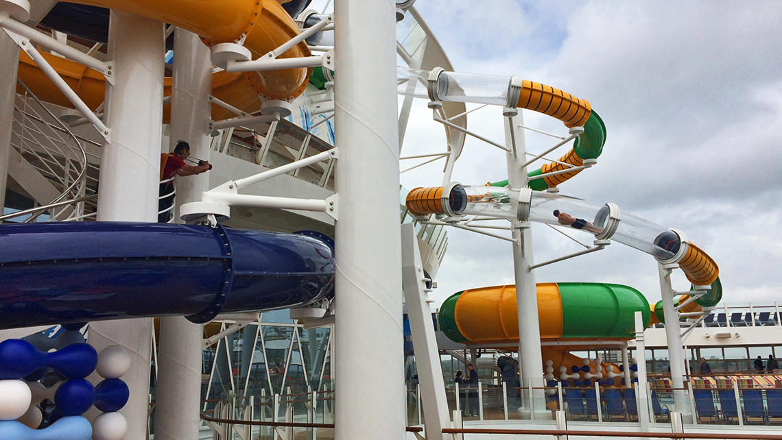 A guest braved the chill for a turn in one of the Perfect Storm waterslides. Photo Credit: Rebecca Tobin