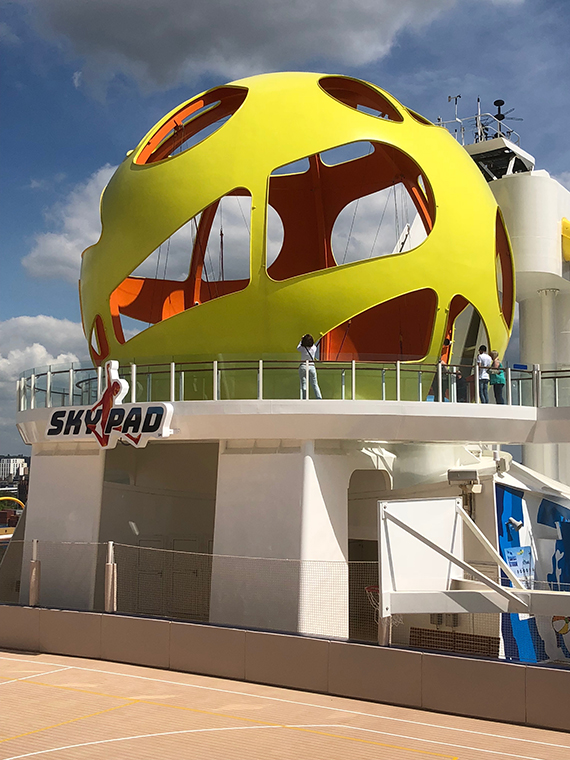 The Sky Pad, a bungee trampoline apparatus used with virtual reality goggles, adds a new dimension to the profile of the Independence of the Seas. Photo Credit: Tom Stieghorst