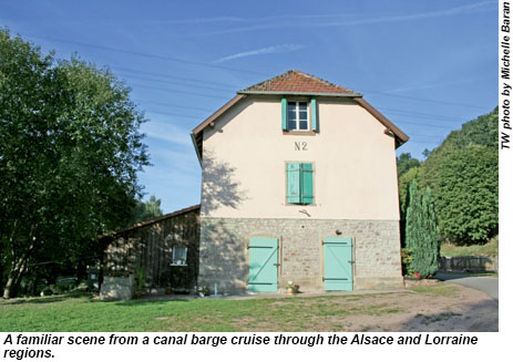 Familiar scene from a canal barge cruise through the Alsace and Lorraine regions.