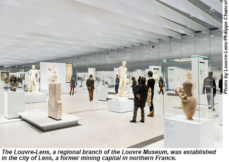 The Louvre-Lens, a regional branch of the Louvre Museum, was established in the city of Lens, a former mining capital in northern France.