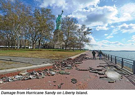 Liberty Island damage
