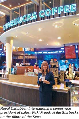 Vicki Freed at the Starbucks on the Allure of the Seas