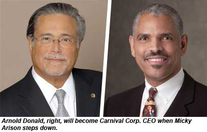 Arnold Donald will take over from Micky Arison as CEO of Carnival Corp.