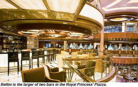 Bellini is the larger of two bars in the Royal Princess Piazza.