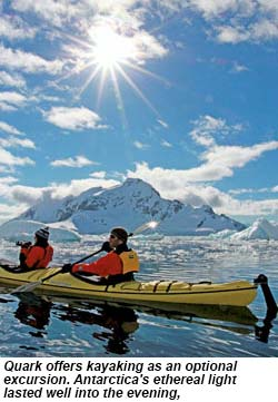 Quark Expeditions offers kayaking as an optional excursion.