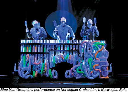 Blue Man Group in performance on the Norwegian Epic.