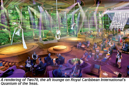 A rendering of the Two70 aft lounge on the Quantum of the Seas.
