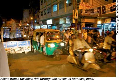 Scene from a rickshaw ride through Varanasi, India.