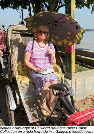 Wanda Kowalczyk of Uniworld Boutique River Cruise Collection on a rickshaw ride in a Ganges riverside town.