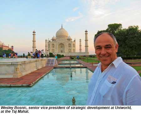 Wesley Bosnic, senior vice president of strategic development at Uniworld, at the Taj Mahal.