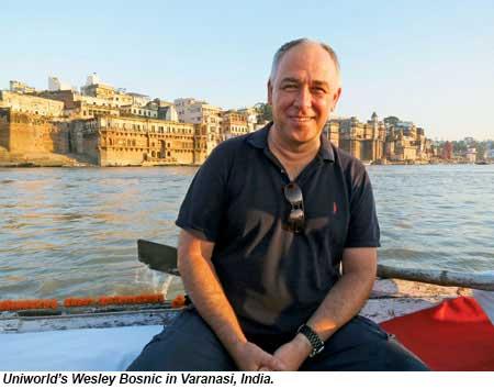 Uniworlds Wesley Bosnic in Varanasi, India.