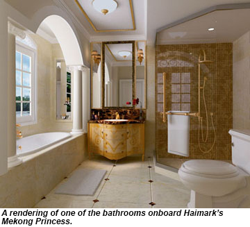 Rendering of a bathroom onboard the Mekong Princess.