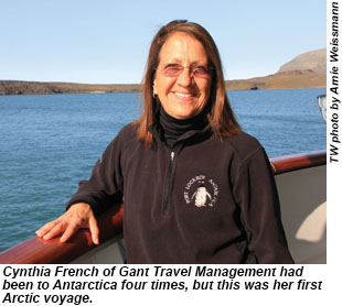 Cynthia French of Gant Travel Management had been to Antarctica four times, but this was her first Arctic voyage.